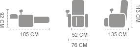Sillón de masaje Komoder Albert - Dimensiones